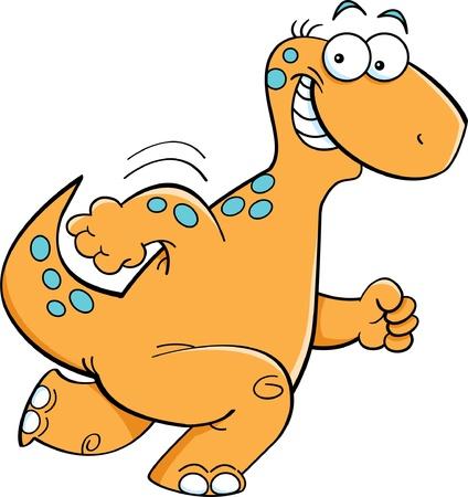 Cartoon illustration of a happy running brontosaurus Vector