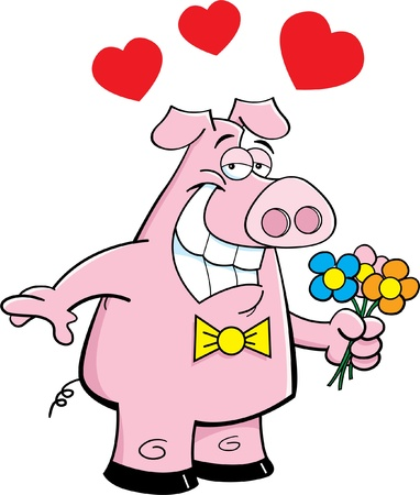 Cartoon illustration of a pig holding flowers