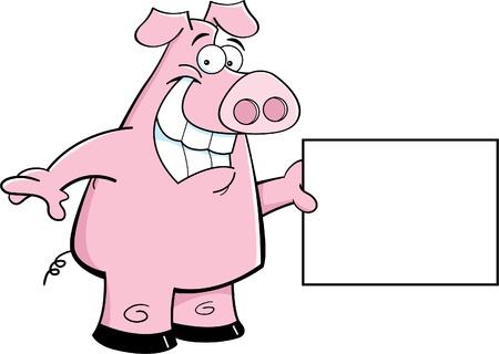 Cartoon illustration of a pig holding a sign Illustration