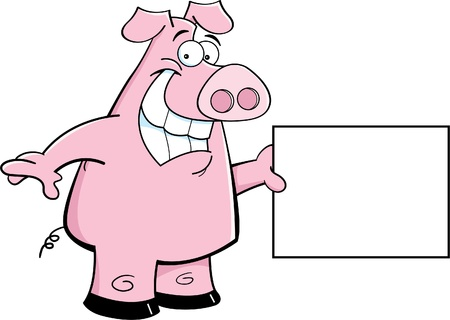 Cartoon illustration of a pig holding a sign Vectores