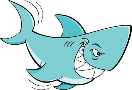 fishes: Cartoon illustration of a shark Illustration