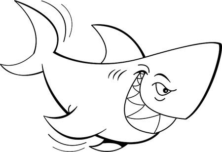 Black and white illustration of a shark Banco de Imagens - 14847859