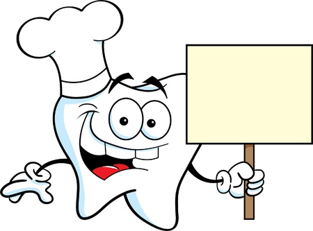 Cartoon illustration of a tooth wearing a chef s hat and holding a sign Vector