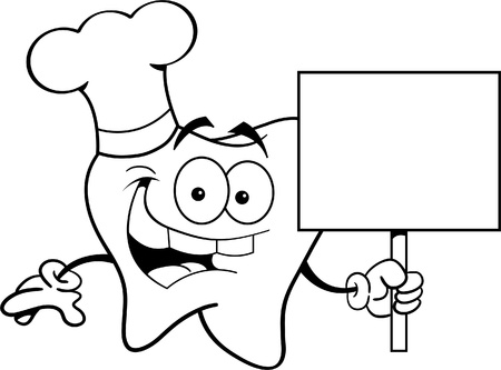 Black and white illustration of a tooth wearing a chef s hat and holding a sign