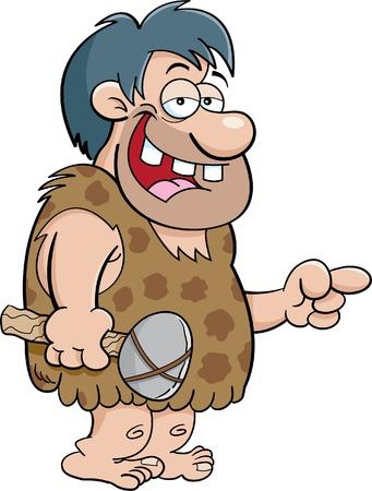 caveman cartoon: Cartoon illustration of a caveman pointing