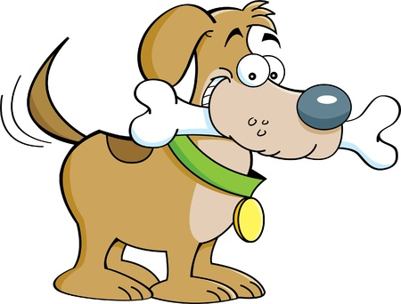 Cartoon illustration of a dog with a bone Stock Vector - 14882461