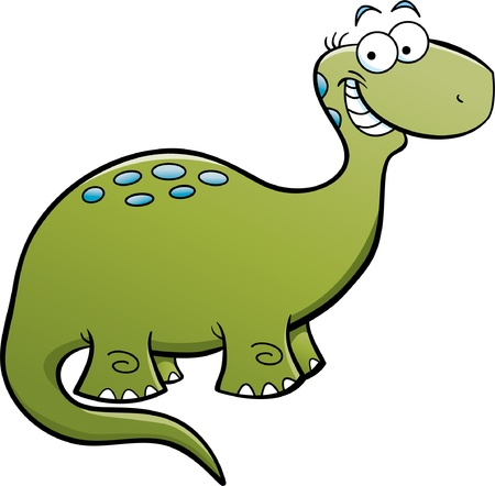 Cartoon illustration of a happy brontosaurus