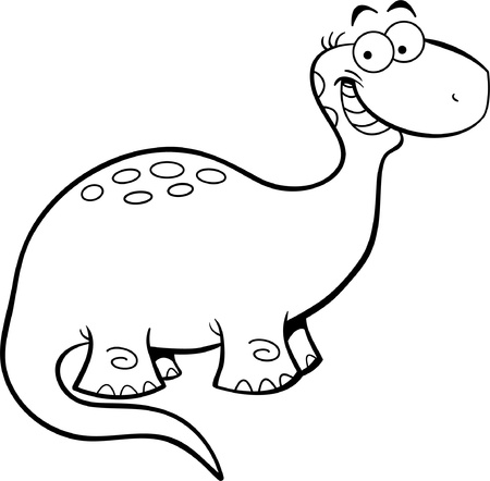 brontosaurus: Black and white illustration of a happy brontosaurus