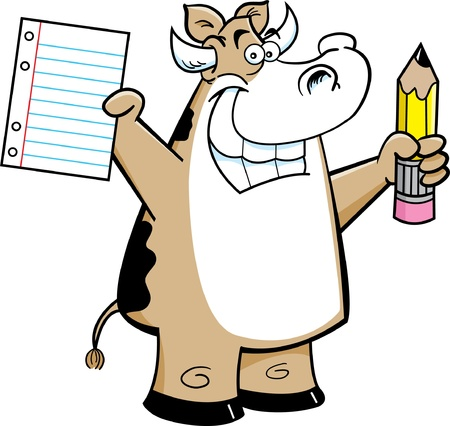 Cartoon illustration of a cow holding a paper and pencil Stock Vector - 14882473