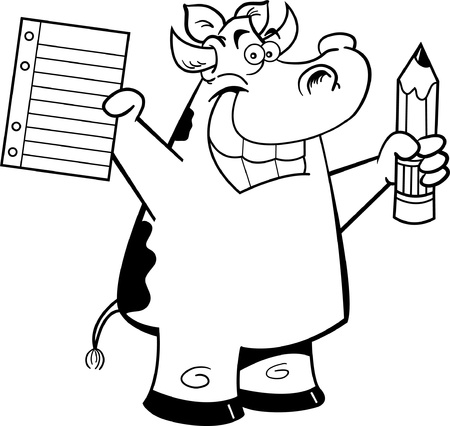 Black and white illustration of a cow holding a paper and pencil Vector