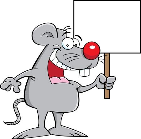 maus cartoon: Cartoon Illustration einer Maus mit einem Schild