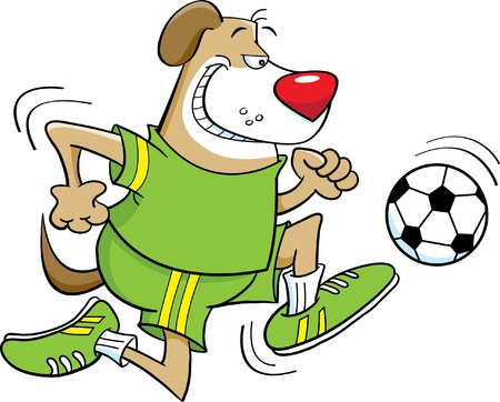 Cartoon illustration of a Dog playing soccer