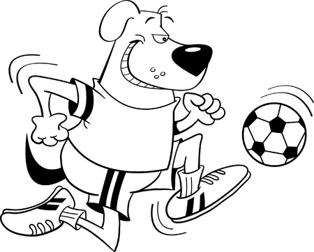 Black and white illustration of a Dog playing soccer Vector