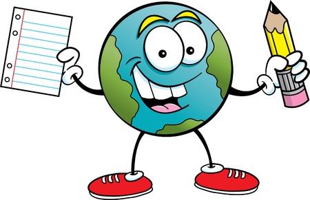 Cartoon illustratie van de aarde met een potlood en papier Stock Illustratie