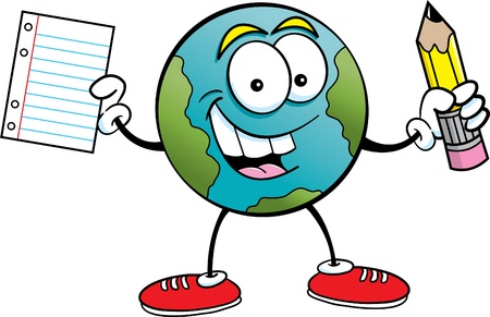 cartoon world: Cartoon illustration of the earth holding a pencil and paper Illustration