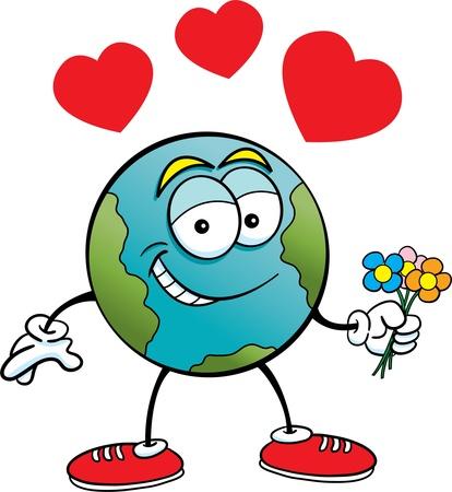 amor al planeta: Ilustraci�n de dibujos animados de la tierra que sostiene las flores