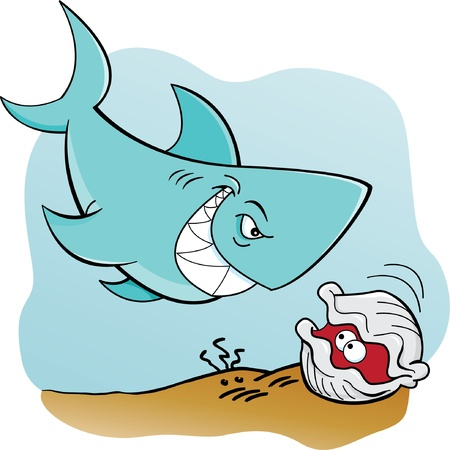 Cartoon illustration of a shark and a clam underwater Vector