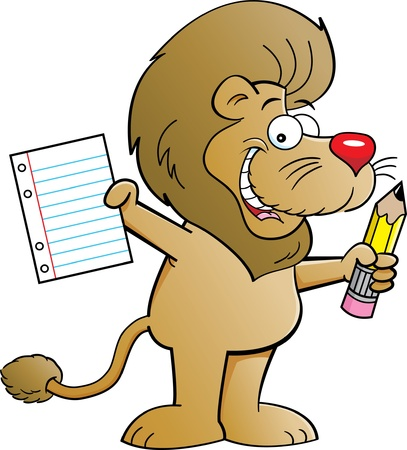 Cartoon illustration of a lion holding a paper and pencil Stock Vector - 14960797