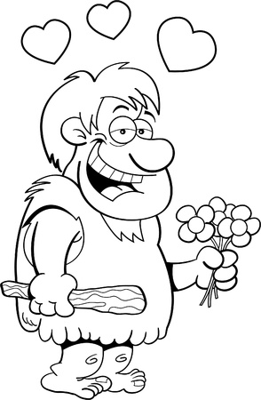 Black and white Illustration of a caveman holding flowers