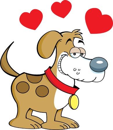 puppy love: Cartoon illustration of a puppy in love