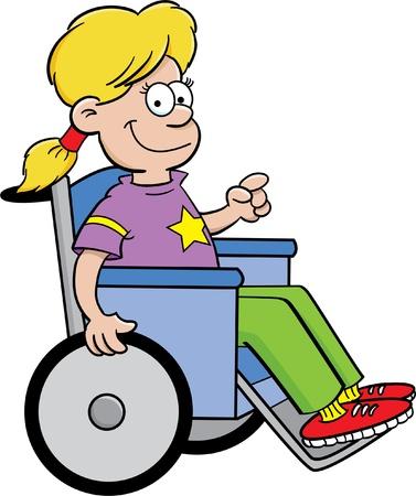 onderwijs: Cartoon illustratie van een meisje in een rolstoel