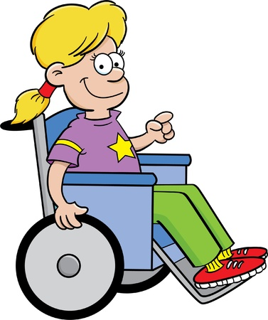Cartoon illustration of a girl in a wheelchair Illustration