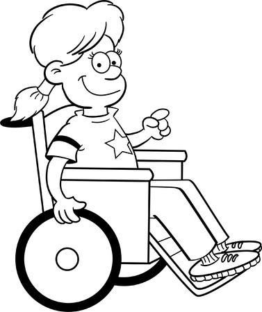 Black and white illustration of a girl in a wheelchair Stock Illustratie