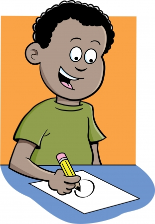 Cartoon illustration of a boy writing and sitting at a desk