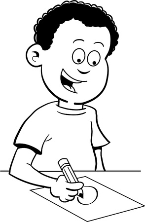 Black and white illustration of a boy writing and sitting at a desk