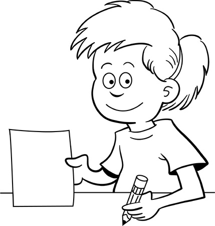 Black and white illustration of a girl holding a paper and sitting at a desk  Vector