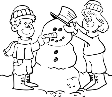 season: Black and white illustration of two children building a snowman