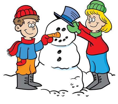 Cartoon illustration of two children building a snowman