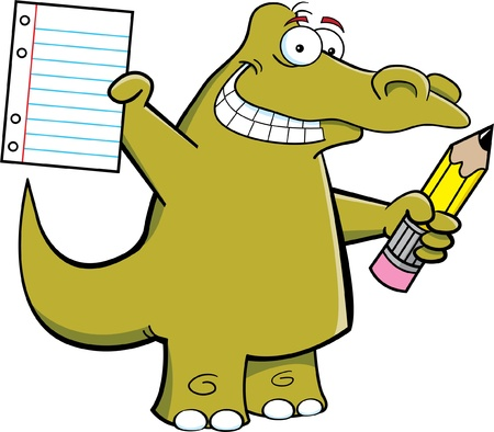 Cartoon Illustration of a alligator holding a pencil and paper Stock Vector - 15040983