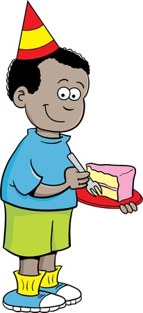 Cartoon illustration of a boy wearing a party hat and eating cake