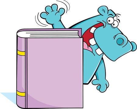 책 뒤에 하마의 만화 그림