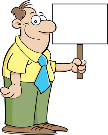 Cartoon illustration of a businessman holding a sign