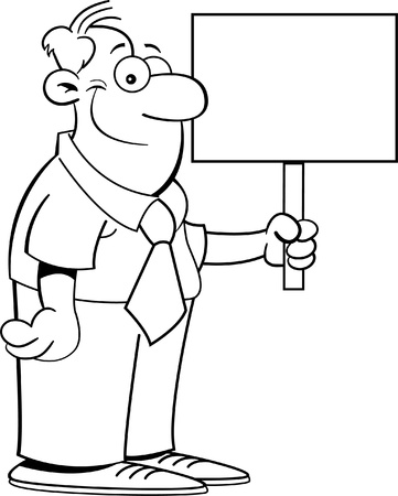 Black and white illustration of a businessman holding a sign