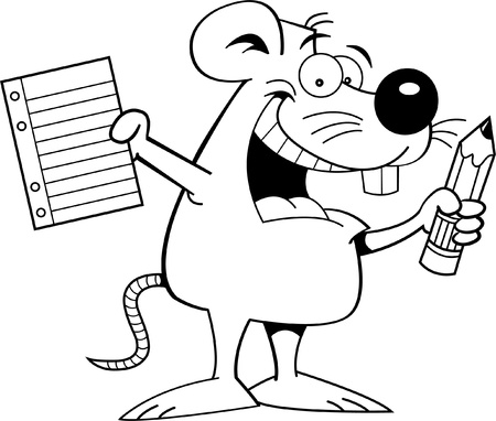 Black and white illustration of a mouse holding a paper and pencil