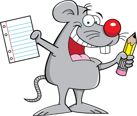Cartoon illustration of a mouse holding a paper and pencil Vector