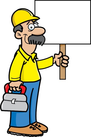 Cartoon illustration of a construction worker holding a sign Stock Vector - 15041806