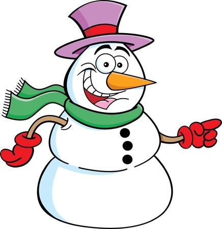 bonhomme de neige: Cartoon illustration d'un bonhomme de neige pointant Illustration