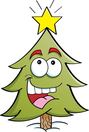 Cartoon illustration of a pine tree looking at a star