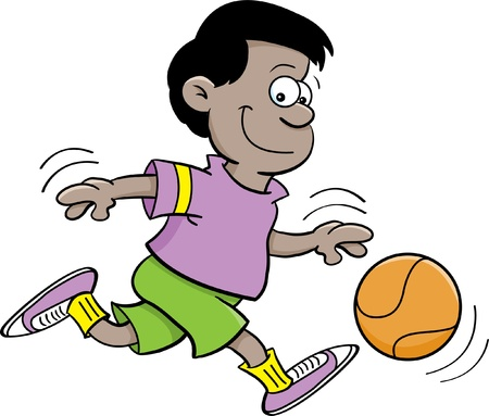 dribbling: Cartoon illustration of a boy playing basketball