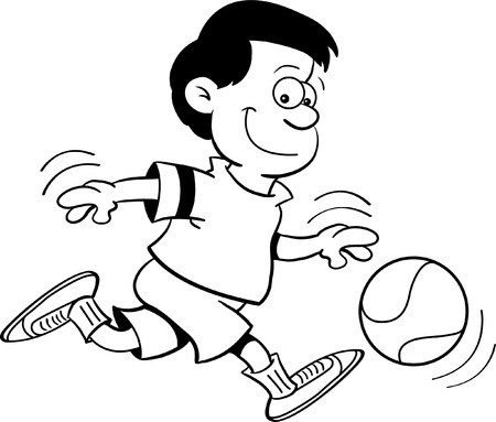 Black and white illustration of a boy playing basketball Vector