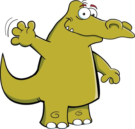 Cartoon Illustration of an alligator smiling and waving Vector