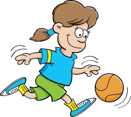 Cartoon illustratie van een meisje spelen basketbal