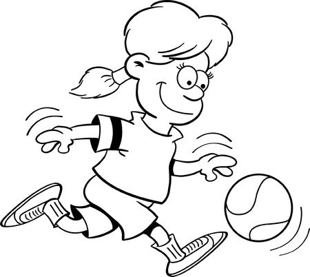 dribbling: Black and white illustration of a girl playing basketball Illustration