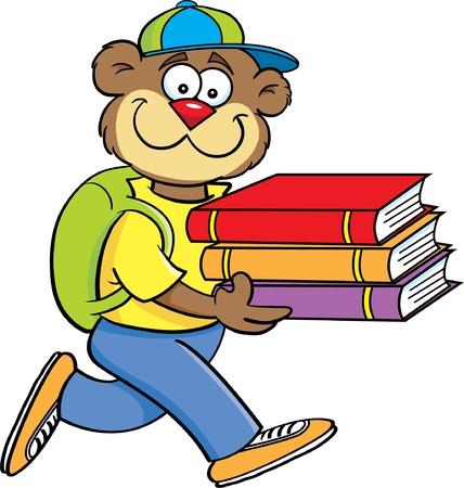 Cartoon illustration of a teddy bear carrying books Illustration