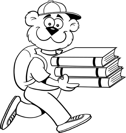 Blackand white illustration of a teddy bear carrying books Illustration