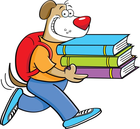 Cartoon illustration of a dog carrying books Stock Vector - 15114938